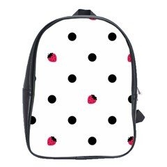 Strawberry Dots Black School Bag (XL)