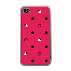 Strawberry Dots Black With Pink Apple Iphone 4 Case (clear)