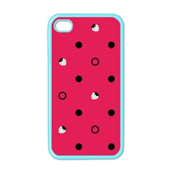 Strawberry Dots Black With Pink Apple Iphone 4 Case (color)