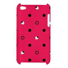 Strawberry Dots Black With Pink Apple iPod Touch 4G Hardshell Case