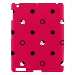Strawberry Dots Black With Pink Apple iPad 3/4 Hardshell Case