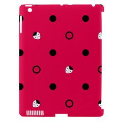 Strawberry Dots Black With Pink Apple Ipad 3/4 Hardshell Case (compatible With Smart Cover)