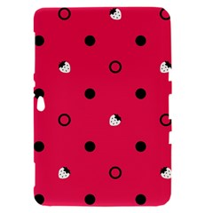 Strawberry Dots Black With Pink Samsung Galaxy Tab 8.9  P7300 Hardshell Case