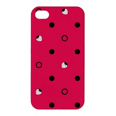 Strawberry Dots Black With Pink Apple iPhone 4/4S Premium Hardshell Case