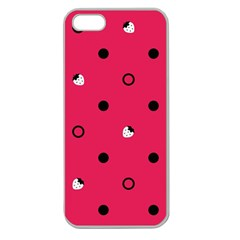 Strawberry Dots Black With Pink Apple Seamless Iphone 5 Case (clear)