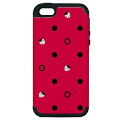 Strawberry Dots Black With Pink Apple Iphone 5 Hardshell Case (pc+silicone)