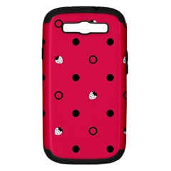 Strawberry Dots Black With Pink Samsung Galaxy S III Hardshell Case (PC+Silicone)