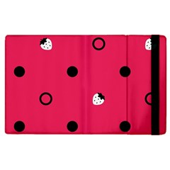 Strawberry Dots Black With Pink Apple Ipad 2 Flip Case