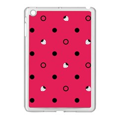 Strawberry Dots Black With Pink Apple iPad Mini Case (White)