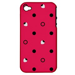 Strawberry Dots Black With Pink Apple iPhone 4/4S Hardshell Case (PC+Silicone)