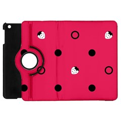 Strawberry Dots Black With Pink Apple Ipad Mini Flip 360 Case