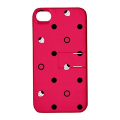 Strawberry Dots Black With Pink Apple iPhone 4/4S Hardshell Case with Stand