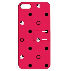 Strawberry Dots Black With Pink Apple iPhone 5 Hardshell Case with Stand
