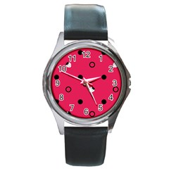 Strawberry Dots Black With Pink Round Metal Watch