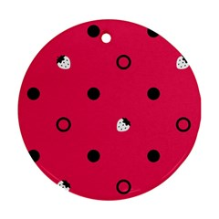 Strawberry Dots Black With Pink Ornament (Round)