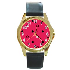 Strawberry Dots Black With Pink Round Gold Metal Watch