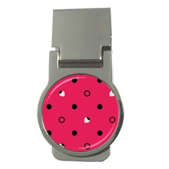 Strawberry Dots Black With Pink Money Clip (round)