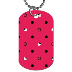 Strawberry Dots Black With Pink Dog Tag (one Side)