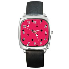 Strawberry Dots Black With Pink Square Metal Watch