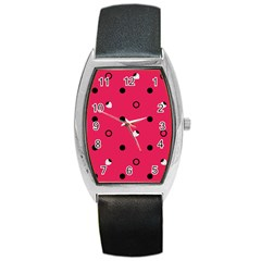 Strawberry Dots Black With Pink Barrel Style Metal Watch