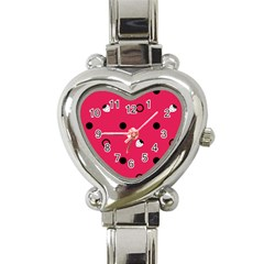 Strawberry Dots Black With Pink Heart Italian Charm Watch
