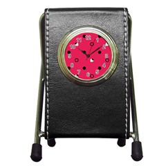 Strawberry Dots Black With Pink Pen Holder Desk Clock
