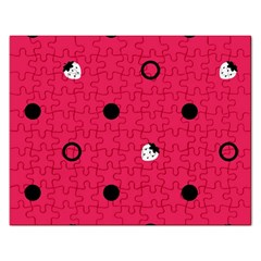 Strawberry Dots Black With Pink Jigsaw Puzzle (rectangular)