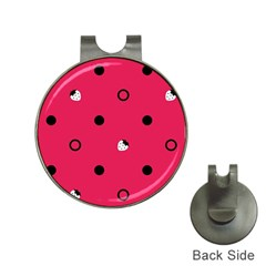 Strawberry Dots Black With Pink Golf Ball Marker Hat Clip
