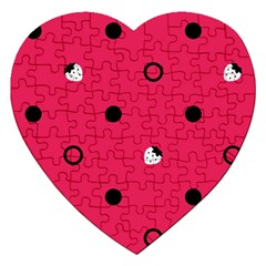 Strawberry Dots Black With Pink Jigsaw Puzzle (heart)