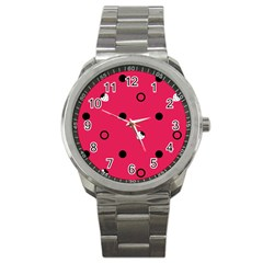 Strawberry Dots Black With Pink Sport Metal Watch