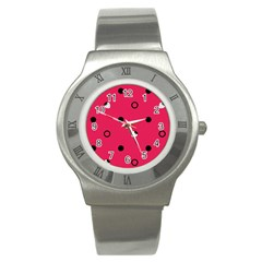 Strawberry Dots Black With Pink Stainless Steel Watch