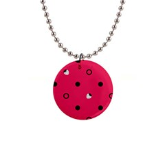 Strawberry Dots Black With Pink 1  Button Necklace