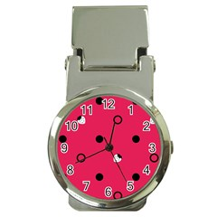 Strawberry Dots Black With Pink Money Clip Watch
