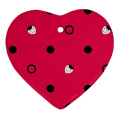 Strawberry Dots Black With Pink Heart Ornament (Two Sides)