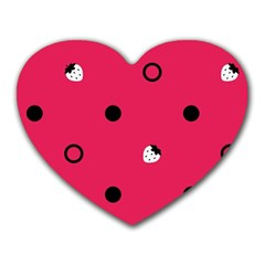 Strawberry Dots Black With Pink Mousepad (Heart)