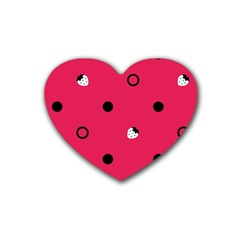 Strawberry Dots Black With Pink Rubber Coaster (heart)