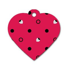 Strawberry Dots Black With Pink Dog Tag Heart (One Side)