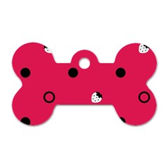 Strawberry Dots Black With Pink Dog Tag Bone (One Side)
