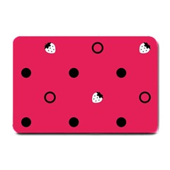 Strawberry Dots Black With Pink Small Doormat