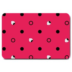 Strawberry Dots Black With Pink Large Doormat