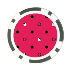 Strawberry Dots Black With Pink Poker Chip Card Guard