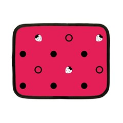 Strawberry Dots Black With Pink Netbook Case (Small)