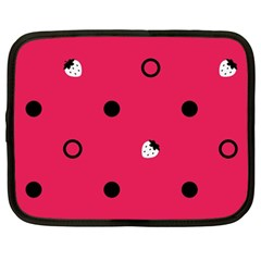 Strawberry Dots Black With Pink Netbook Case (Large)