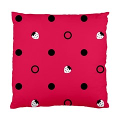 Strawberry Dots Black With Pink Cushion Case (two Sides)