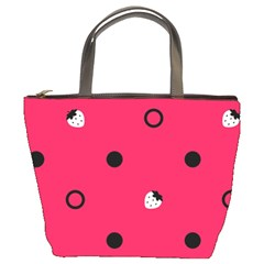Strawberry Dots Black With Pink Bucket Bag