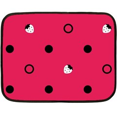 Strawberry Dots Black With Pink Mini Fleece Blanket(Two Sides)