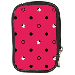 Strawberry Dots Black With Pink Compact Camera Leather Case