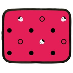 Strawberry Dots Black With Pink Netbook Case (XL)