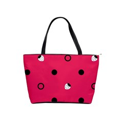 Strawberry Dots Black With Pink Classic Shoulder Handbag