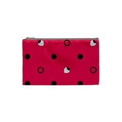Strawberry Dots Black With Pink Cosmetic Bag (Small)
